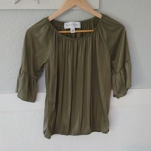French Laundry, knit, olive peasant top, Small